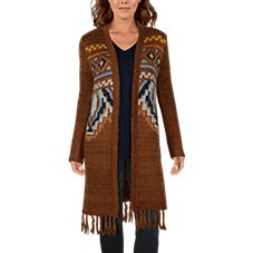Natural Reflections Aztec Fringe Long-Sleeve Cardigan for Ladies Image