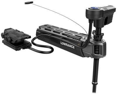 Lowrance Ghost Trolling Motor isolated on a white background.