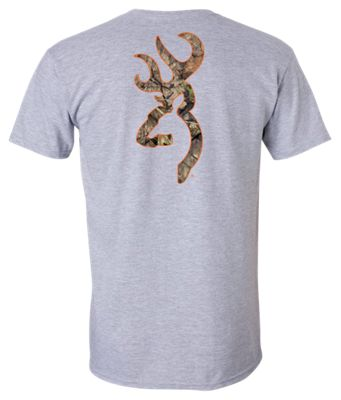 Browning Camo Buckmark Logo T-Shirt for Men – Sport Gray/Blaze Orange – 3XL
