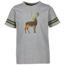 Bass Pro Shops Buck Silhouette Animal Varsity Short-Sleeve T-Shirt for Toddlers or Kids