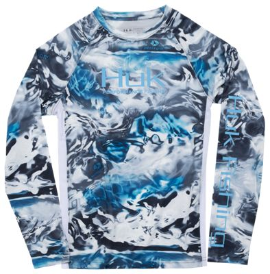 HUK Pursuit Camo Vented Long-Sleeve Shirt for Kids - Mossy Oak Hydro Glacier - S