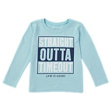 Life is Good Straight Outta Timeout Long-Sleeve Crusher Tee for Toddlers Image