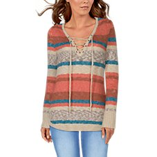 Natural Reflections Lace-Up Sweater for Ladies Image