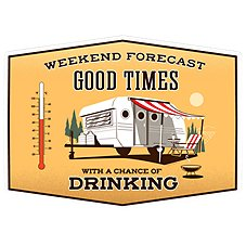 Open Road Brands Weekend Forecast Thermometer Tin Sign Image