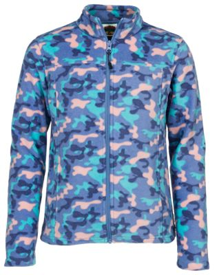 Bass Pro Shops Full-Zip Fleece Jacket for Girls – Camo – XS