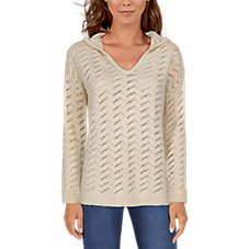 Natural Reflections Open-Knit Long-Sleeve Hoodie for Ladies Image