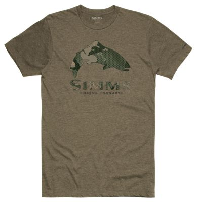Simms Trout Hex Flo Camo Short-Sleeve T-Shirt for Men - Olive Heather - XL