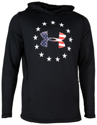 Under Armour Freedom Tech Terry Hoodie for Men - Black/Americana - L