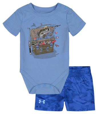 Under Armour Tackle Box Short-Sleeve Bodysuit and Shorts Set for Babies – Carolina Blue – 6-9 Months