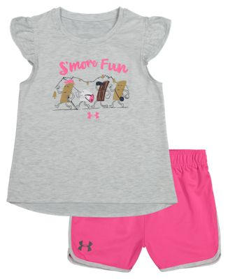 Under Armour S'More Fun Short-Sleeve Shirt and Shorts Set for Kids - Halo Gray Heather/Pink Surge - 6X
