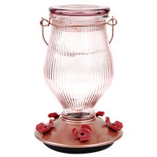Perky-Pet Rose Gold Top-Fill Glass Hummingbird Feeder