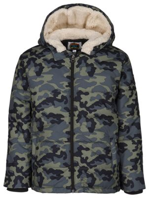Outdoor Kids Puffer Jacket for Toddlers or Boys – Camo – XS