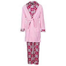 Outdoor Kids Snowflake Plaid 3-Piece Robe and Pajama Set for Babies, Toddlers, or Girls