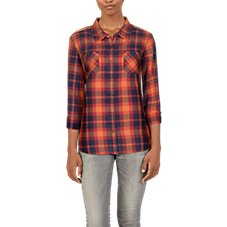 Natural Reflections Acid-Washed Plaid Long-Sleeve Shirt for Ladies Image