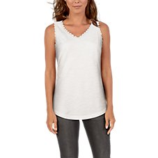 Natural Reflections Lace Trim V-Neck Tank Top for Ladies Image