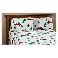 White River Red Truck Flannel Sheet Set Image