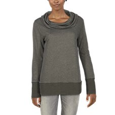 Natural Reflections Terry Burnout Cowl-Neck Long-Sleeve Shirt for Ladies Image