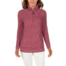 Natural Reflections Sherpa Cabin Long-Sleeve Quarter-Zip Sweatshirt for Ladies Image