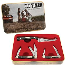 Old Timer Sharpfinger Wood Handle 3-Piece Knife Set Image