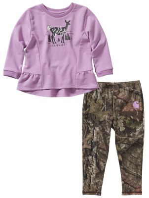Carhartt 2 Piece Long Sleeve Top and Leggings Set for Baby Girls 3 Months