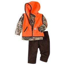 Carhartt 3-Piece Hooded Vest, Long-Sleeve T-Shirt, and Pants Gift Set for Babies