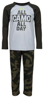 Under Armour All Camo All Day Raglan Long-Sleeve T-Shirt and Pants Set for Babies, Toddlers, or Boys – Mod Gray/Fury Camo – 6