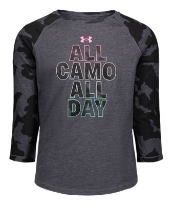 Under Armour All Camo All Day Three-Quarter-Sleeve T-Shirt for Girls – Blackout Purple – S