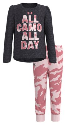 Under Armour All Camo All Day Raglan Long-Sleeve T-Shirt and Pants Set for Girls – Blackout Purple/Pink – 6X