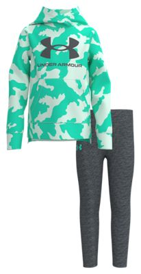 Under Armour Fury Camo Long-Sleeve Hoodie and Pants Set for Babies, Toddlers, or Girls – Comet Green/Pitch Gray – 2T