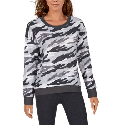 Natural Reflections Brushed Thermal Long-Sleeve Lounge Shirt for Ladies – Grey Camo – S