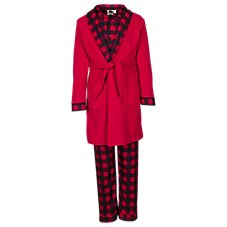 Outdoor Kids Buffalo Plaid 3-Piece Robe and Pajama Set for Babies, Toddlers, or Boys