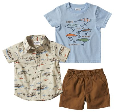 Carhartt Button Down Fishing Shirt, Catch and Release T Shirt, and Canvas Shorts 3 Piece Set for Babies 6 Months