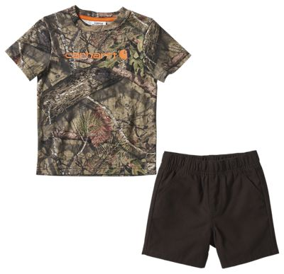 Carhartt 2 Piece Camo Short Sleeve T Shirt and Canvas Shorts Set for Toddlers Mossy Oak Break Up Country 3T