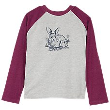 Outdoor Kids Bunny Graphic Raglan Long-Sleeve T-Shirt for Toddlers or Girls Image