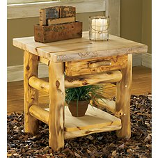 Mountain Woods Furniture Log One-Drawer End Table