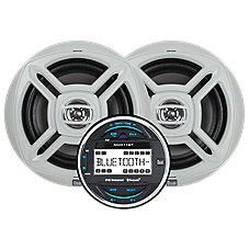 """Dual Marine Round Bluetooth Digital Media Receiver with Two 6.5"""" Speakers Image"""