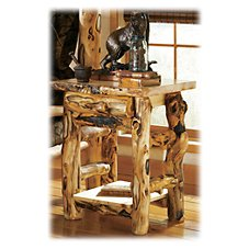 Mountain Woods Furniture Extra-Gnarly Quakie Log One-Drawer Nightstand