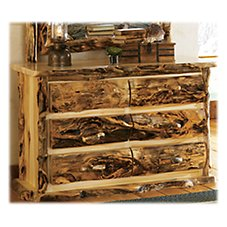 Mountain Woods Furniture Extra-Gnarly Quakie Log Six-Drawer Dresser