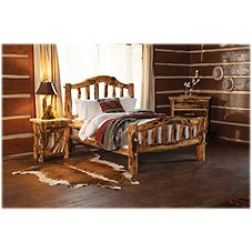 Mountain Woods Furniture Extra-Gnarly Quakie Log Bed