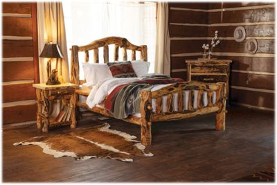 Mountain Woods Furniture Extra-Gnarly Quakie Log Bed - King