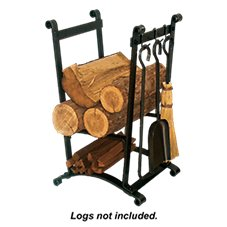 Enclume Compact Curved Fireplace Log Rack with Tools