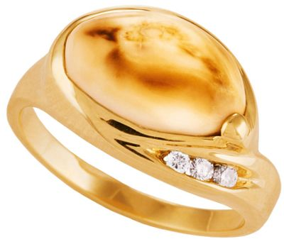 Frontier Collection Women's 10-Kt., Three-Diamond Elk Ivory Ring