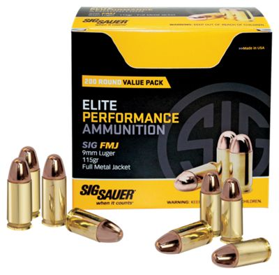 Sig Sauer Elite Performance FMJ Handgun Ammo – 9mm