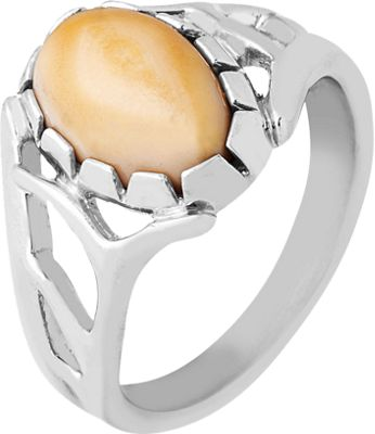 Frontier Collection Women's Sterling Silver Elk Ivory Scalloped-Edge Ring