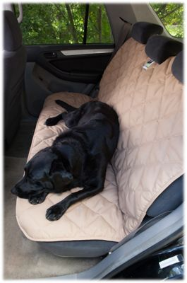 3 Dog Pet Supply Quilted Back Seat Protector Tan