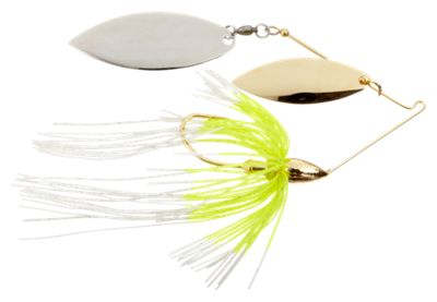 War Eagle Double Willow Spinnerbaits – 1/2 oz – Gold Frame – White Chartreuse