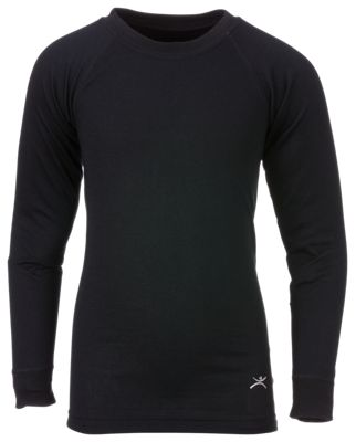 Bass Pro Shops Double Layer Thermal Crewneck Shirt for Kids - Black - M