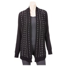 Natural Reflections Pick Stitch Open-Front Cardigan for Ladies