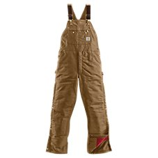 Carhartt Duck Zip-To-Thigh Quilt-Lined Bib Overalls for Men