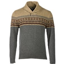 Bob Timberlake Zip Shawl Collar Jacquard Sweater for Men